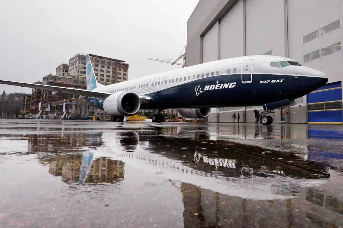 The first of the large Boeing 737 MAX 9 models, Boeing's newest commercial airplane, sits outside its production plant, Tuesday, March 7, 2017, in Renton, Wash. Boeing has already built 13 of the initial MAX 8 models, which are awaiting FAA certification and plans to deliver its first 737 MAX airplane by May. (ANSA/AP Photo/Elaine Thompson) [CopyrightNotice: Copyright 2017 The Associated Press. All rights reserved.]