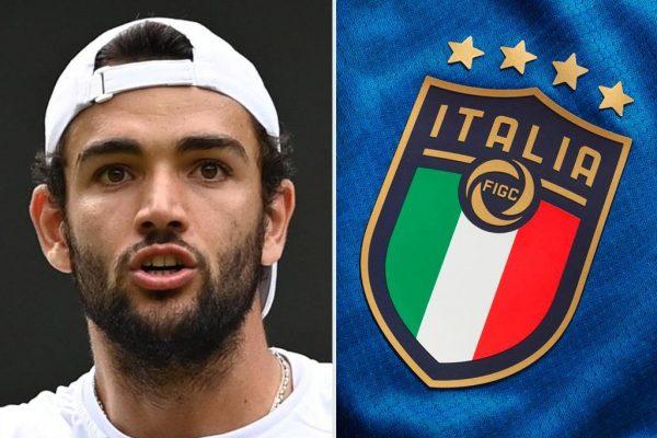 Berrettini, tennista italiano in finale a Wimbledon e l'Italia del calcio (combo)
