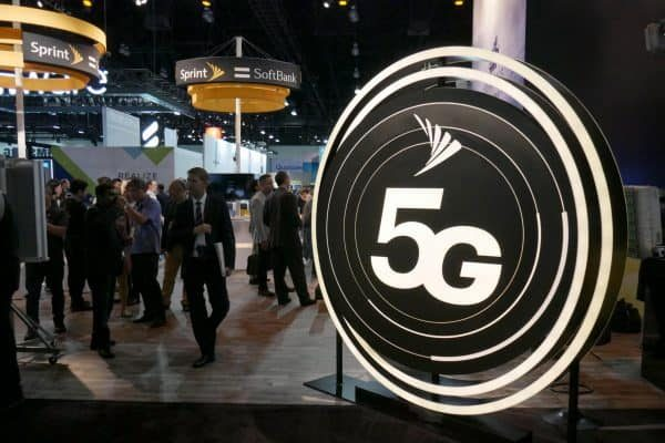 epa07016052 The Sprint 5G 3D logo is displayed at the GSMA Mobile World Congress Americas at the LA Convention Center in Los Angeles, California, USA, 12 September 2018. The Mobile Word Congress Americas demonstrates the latest technologies and devices in the Internet of Things. EPA/MIKE NELSON