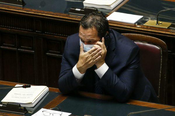 Claudio Durigon, sottosegretario al ministero dell'economia, durante le dichiarazioni di voto sul decreto legge ''sostegni bis'' nell'aula della Camera dei deputati, Roma 14 luglio 2021. ANSA/FABIO FRUSTACI