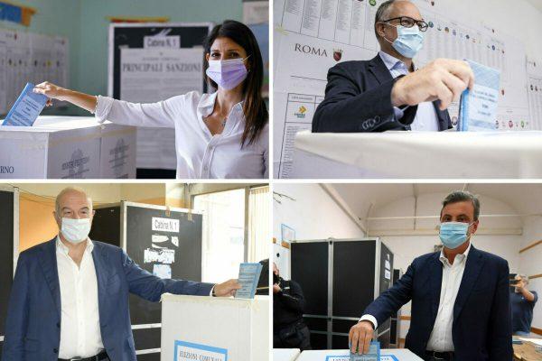 Combo Elezioni Amministrative ROMADa sinistra in alto: Virginia Raggi e Roberto Gualtieri.Da sinistra in basso: Enrico Michetti e Carlo Calenda.Roma, 3 ottobre 2021.ANSA