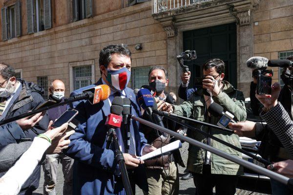 Lega Nord (Northern League) leader Matteo Salvini meets the press at San Luigi dei Francesi square in Rome, 24 March, 2021.