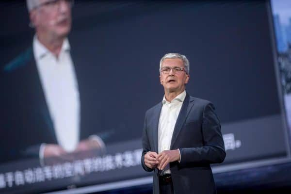 epa06787051 Audi AG Chairman Rupert Stadler speaks during Q8 world premiere at Audi China Brand Summit in Shenzhen, China, 05 June 2018. The Q8 is the successor to the Q7. EPA/STRINGER