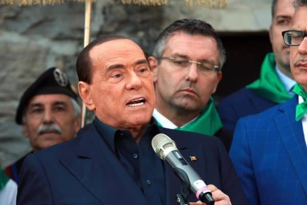 Silvio Berlusconi in occassione della sua visita alla cerimonia del 25 aprile alle Malghe di Porzus, 25 aprile 2018. ANSA/ ALBERTO LANCIA