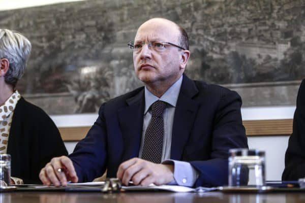 Il presidente di Confindustria Vincenzo Boccia durante la firma dell'accordo sul nuovo modello di relazioni industriali e sugli assetti della contrattazione, Roma, 9 marzo 2018. ANSA/GIUSEPPE LAMI
