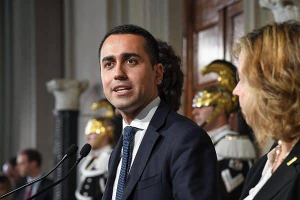 Five-Star Movement (M5S) leader Luigi Di Maio (C), flanked by party colleagues Giulia Grillo (R) and Danilo Toninelli (L), addresses to the media after a meeting with Italian President Sergio Mattarella (not pictured) at the Quirinal Palace, Italy, Rome, 14 May 2018.ANSA/ALESSANDRO DI MEO