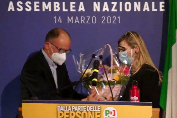 Il fermo immagine tratto dalla diretta Facebook mostra Enrico Letta dopo la sua elezione a segretario del Partito democratico, Roma, 14 marzo 2021. FACEBOOK +++ATTENZIONE LA FOTO NON PUO' ESSERE PUBBLICATA O RIPRODOTTA SENZA L'AUTORIZZAZIONE DELLA FONTE DI ORIGINE CUI SI RINVIA+++