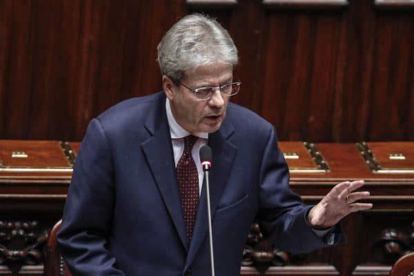 Il presidente del Consiglio Paolo Gentiloni alla Camera durante un'informativa urgente sulla situazione in Siria, Roma 17 aprile 2018. ANSA/GIUSEPPE LAMI