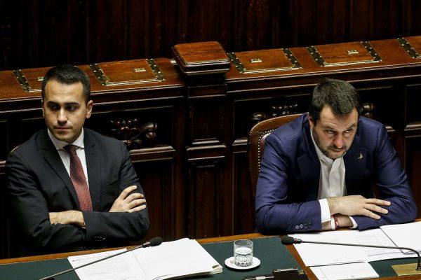 Deputies Premier Matteo Salvini (R) and Luigi Di Maio during a Question Time at the Chamber of Deputies, Rome, 13 February 2019. ANSA/FABIOFRUSTACI