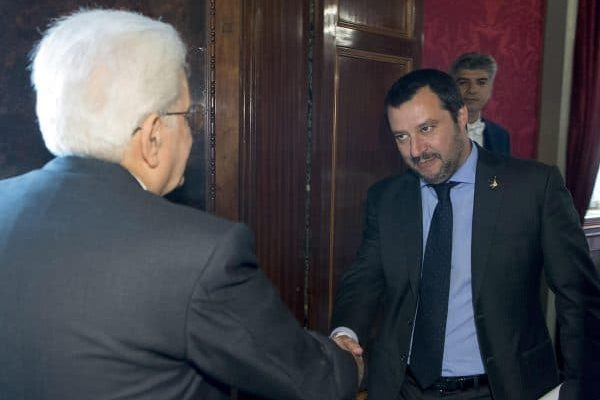Italian President Sergio Mattarella (L) meets Secretary of Lega party, Matteo Salvini, at the Quirinale Palace, Italy, Rome, 14 May 2018.ANSA/QUIRINALE PRESS OFFICE/PAOLO GIANDOTTI+++ ANSA PROVIDES ACCESS TO THIS HANDOUT PHOTO TO BE USED SOLELY TO ILLUSTRATE NEWS REPORTING OR COMMENTARY ON THE FACTS OR EVENTS DEPICTED IN THIS IMAGE; NO ARCHIVING; NO LICENSING +++