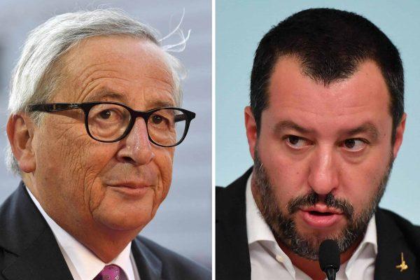La combo, realizzata con due immagini di archivio, mostra il presidente della Commissione Ue Jean-Claud Juncker (S) e il ministro dell'Interno Matteo Salvini.ANSA
