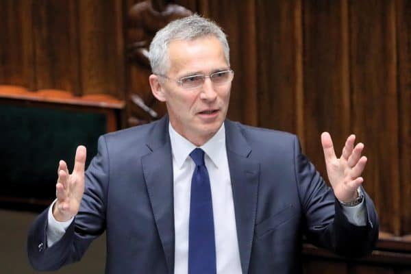 epa06768159 NATO Secretary General Jens Stoltenberg speaks during the Spring Session of the NATO Parliamentary Assembly in Warsaw, Poland, 28 May 2018. The NATO Parliamentary Assembly's Spring Session opened at the Polish parliament building on 25 May. It is attended by parliamentarians from NATO member states and associated countries, as well as observers, and will conclude today, 28 May. EPA/Pawel Supernak POLAND OUT
