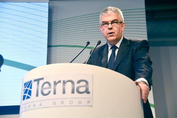 L'Amministratore Delegato e Direttore Generale Luigi Ferraris durante l'innaugurazione della rinnovata sede storica di Terna a Genova, 09 aprile 2018. ANSA/LUCA ZENNARO