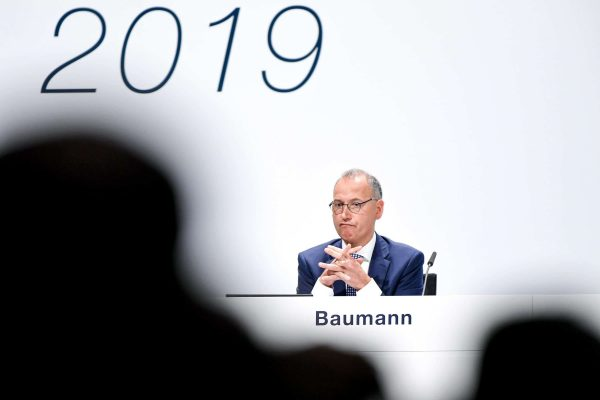 epa07529213 Werner Baumann, CEO of German pharmaceutical company Bayer, seen during the annual shareholders' meeting of Bayer AG at the World Conference Center (WCC) in Bonn, Germany, 26 April 2019. The company said the Bayer Group achieved a strong start to the year in its operational business. Sales of Bayer in the first quarter rose by 4.1 per cent on a currency- and portfolio-adjusted basis to 13.015 billion euros. EBIT declined by 15.6 per cent to 1.950 billion euros, after net special charges of 1.050 billion euros. The principal charges concerned were a total of 492 million euros in connection with the acquisition and integration of Monsanto, and 393 million euros pertaining to the announced restructuring. Net income declined by 36.5 per cent to 1.241 billion euros due to high special charges. Bayer's free cash flow almost doubled to 508 million euros. EPA/SASCHA STEINBACH EPA-EFE/SASCHA STEINBACH