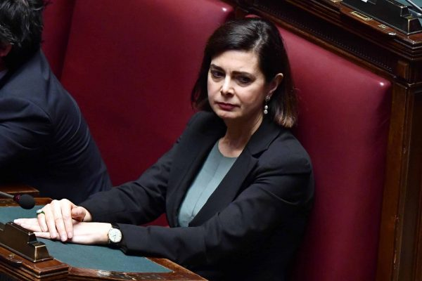 La presidente uscente Laura Boldrini nell'aula della Camera durante il discorso di insediamento di Roberto Fico del M5s, Roma, 24 marzo 2018. ANSA/ETTORE FERRARI
