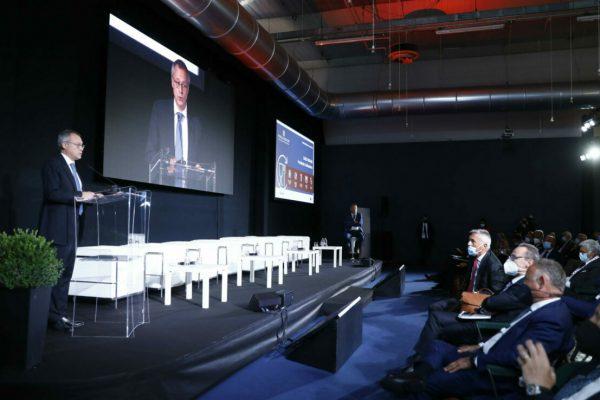 Carlo Bonomi presidente di Confindustria durante il suo intervento al convegno