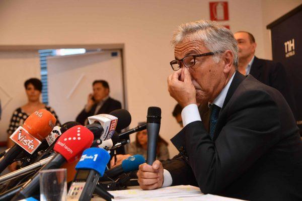 Autostrade per l'Italia Chief Executive Giovanni Castellucci holds a news conference about the collapsed Morandi Bridge in Genoa, Italy, 18 August 2018. ANSA/LUCA ZENNARO