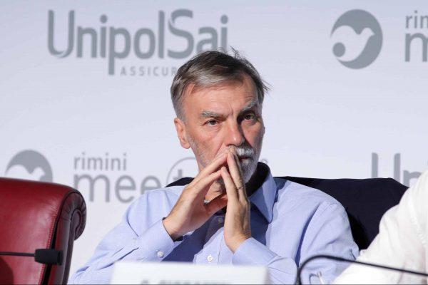 Graziano Delrio, presidente dei deputati del Pd, durante il dibattito ''Le prospettive della democrazia' al Meeting di Cl a Rimini, 20 agosto 2018. ANSA/ PASQUALE BOVE