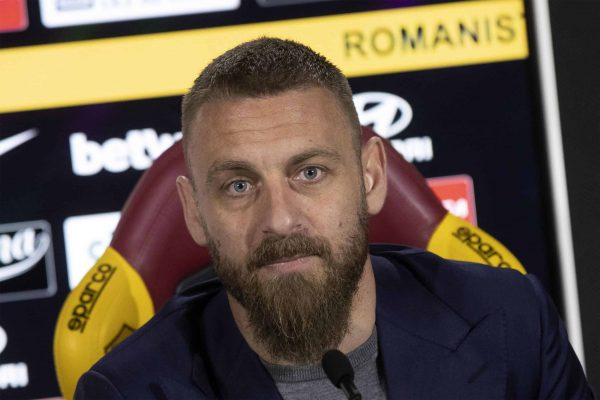Italian midfielder of AS Roma Daniele De Rossi during a press conference at Trigoria's Sports Center, Rome, 14 May 2019. Roma captain Daniele De Rossi surprisingly announced on Tuesday, May 14, 2019 he is leaving his hometown club after 18 years. ANSA/MASSIMO PERCOSSI