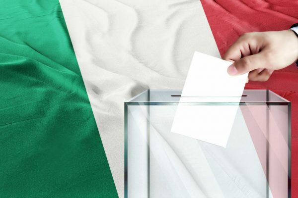 Italy,Flag,,Italy,The,Symbol,Of,Elections,Male,Hand,Puts