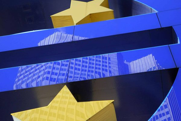 epa04148215 (FILE) A file photo dated 02 March 2012 shows the building of the European Central Bank (ECB) reflected in the Euro sign logo by artist Otmar Hoerl in Frankfurt am Main, Germany. Annual eurozone inflation fell to a more-than four-year low in March increasing the pressure on the European Central Bank to act to head off fears of deflation. The region's cost of living slumped to 0.5 per cent in March compared with 0.7 per cent in February, the European Statistics Office Eurostat said on 31 March 2014. EPA/MAURITZ ANTIN