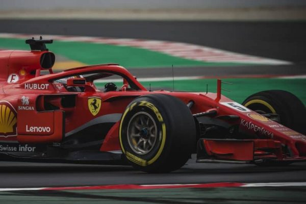 February 27, 2018 - Barcelona, Catalonia, Spain - SEBASTIAN VETTEL (GER) drives in his Ferrari SF-71H during day 2 of Formula One testing at Circuit de Catalunya (Credit Image: © Matthias Oesterle via ZUMA Wire)