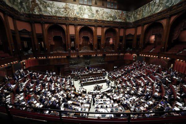 L'aula di Montecitorio durante il voto finale sul decreto dignità, Camera dei Deputati, Roma, 2 agosto 2018. ANSA/RICCARDO ANTIMIANI