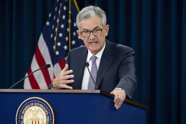 epa07851640 US Federal Reserve Board Chairman Jerome Powell holds a news conference after a Federal Open Market Committee meeting in Washington, DC, USA, 18 September 2019. The Federal Reserive lowered its short-term benchmark interest rate today by a quarter percentage point. Since the Federal Open Market Committee meeting in July, information gathered shows the US labor market remains strong and 'economic activity has been rising at a moderate rate', according to the Federal Reserve. EPA/MICHAEL REYNOLDS