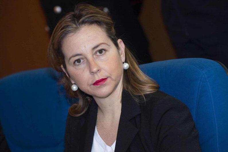 Il ministro della Salute, Giulia Grillo, durante l'incontro presso la sede del Nucleo Antisofisticazioni e Sanità dell'Arma a Roma, 5 febbraio 2019. ANSA/CLAUDIO PERI