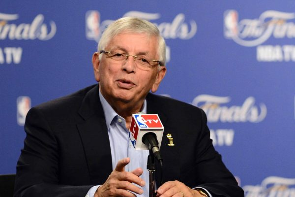 epa08098291 (FILE) - NBA commissioner David Stern meets the press prior to the Miami Heat at Oklahoma City Thunder game one of the NBA Finals outside the Chesapeake Energy Arena in Oklahoma City, Oklahoma, USA, 12 June 2012 (Reissued 01 January 2020). Former NBA commissioner David Stern died at the age of 77. EPA/LARRY W. SMITH *** Local Caption *** 50384523