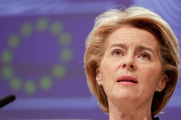 epa08291932 European Commission President Ursula Von Der Leyen gives a press conference on the economic response to the Coronavirus crisis at the European Commission in Brussels, Belgium, 13 March 2020. EPA/STEPHANIE LECOCQ