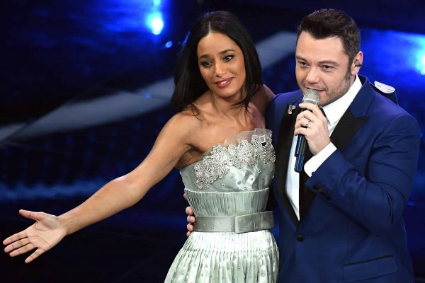 Palestinian journalist Rula Jebreal and Italian singer Tiziano Ferro perform on stage at the Ariston theatre during the 70th Sanremo Italian Song Festival, Sanremo, Italy, 04 February 2020. The festival runs from 04 to 08 February. ANSA/ETTORE FERRARI