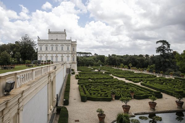 A general view of Villino Algardi, which is located inside the park of Villa Doria Pamphili, where from Friday afternoon on will hold the ''States General of the Economy'' organized by the Italian government to define the Italian economic recovery plan after the emergency linked to the spread of Covid-19, Rome June 10, 2020. ANSA/FABIO FRUSTACI
