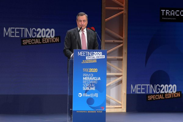 Italian economist and former president of the European Central Bank (ECB), Mario Draghi (C) attends at the Rimini Meeting (Meeting per l'amicizia fra i popoli, or Meeting for friendship among peoples) in Rimini, Italy, 18 August 2020. ANSA/PASQUALE BOVE