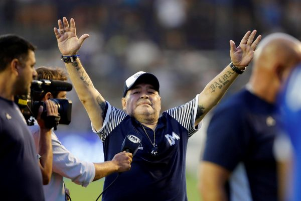 epa08841519 (FILE) - Former Argentinian soccer player Diego Armando Maradona, during a game at the Juan Carmelo Zerilo stadium, in La Plata, Argentina, 09 February 2020 (reissued 25 November 2020). Diego Maradona, 60, passed away on 25 November 2020, according to his friend Matias Morla. According to reports Maradona died after a heart attack. EPA/Demian Alday Estévez