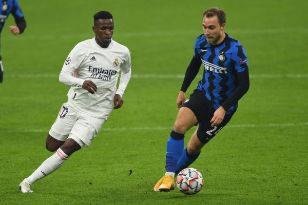 Christian Eriksen (Inter)Vinicius Junior (Real Madrid)                                           during the Uefa Champions League match between Inter 0-2 Real Madrid  at  Giuseppe Meazza  Stadium on November 25, 2020 in Milano, Italy. (Photo by Maurizio Borsari/AFLO)