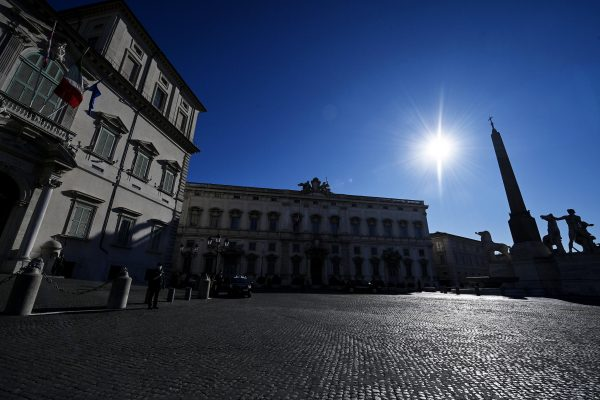 Press and televisions at the Quirinale waiting for Italian Prime Minister Giuseppe Conte to offer his resignation to the President of the Italian Republic Sergio Mattarella , Rome, Italy, 26 January 2021. ANSA/RICCARDO ANTIMIANI