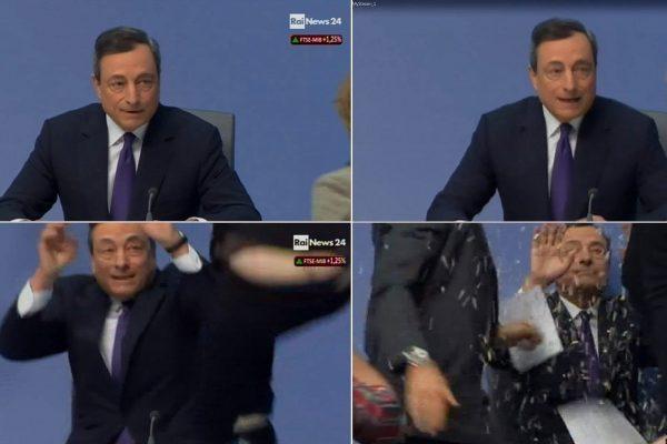 Nella combo realizzata con fermo immagine tratti da Rainews24 l'aggressione a Mario Draghi durante la conferenza stampa del presidente della Bce a Francoforte. Una donna, esponente del movimento Blockupy si è lanciata sul palco, lanciando dei confetti prima di essere bloccata dalle guardie del corpo, il 15 aprile 2015. ANSA/ RAINEWS24 +++ ANSA PROVIDES ACCESS TO THIS HANDOUT PHOTO TO BE USED SOLELY TO ILLUSTRATE NEWS REPORTING OR COMMENTARY ON THE FACTS OR EVENTS DEPICTED IN THIS IMAGE; NO ARCHIVING; NO LICENSING; NO TV +++