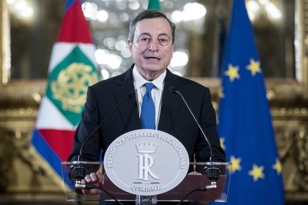ROME, Feb. 3, 2021  Former chief of European Central Bank (ECB) Mario Draghi speaks to the press at the Palazzo del Quirinale after a meeting with Italian President Sergio Mattarella in Rome, Italy, Feb. 3, 2021..  Draghi was appointed to form Italy's new government, the office of President Sergio Mattarella said on Wednesday. (Pool via Xinhua) (Credit Image: © Pool/Xinhua via ZUMA Press)