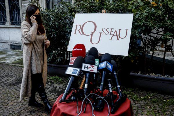 Conferenza stampa del Movimento 5 Stelle prima del voto sulla piattaforma Rousseau nella sede di via Girolamo Morone a Milano, 11 febbraio 2021.ANSA/Mourad Balti Touati