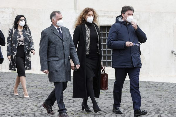 Ministers (from L) Massimo Garavaglia, Erika Stefani and Giancarlo Giorgetti leave the Quirinal at the end of the ceremony of the sworn of the Draghi Government, Rome, Italy, 13 February 2021.   ANSA/GIUSEPPE LAMI