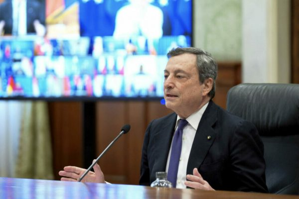 This handout photo provided by the Chigi Palace Press Office shows Italian Prime Minister Mario Draghi taking part in the European Council meeting via videoconference, in Rome, Italy, 25 March 2021.ANSA/ CHIGI PALACE PRESS OFFICE/ FILIPPO ATTILI+++ ANSA PROVIDES ACCESS TO THIS HANDOUT PHOTO TO BE USED SOLELY TO ILLUSTRATE NEWS REPORTING OR COMMENTARY ON THE FACTS OR EVENTS DEPICTED IN THIS IMAGE; NO ARCHIVING; NO LICENSING +++