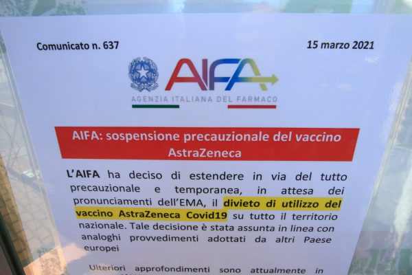 A sign posted at the entrance of the Vaccination Area set up at the