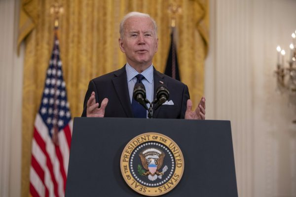 May 7, 2021, Washington, District of Columbia, USA: United States President Joe Biden speaks about the April jobs report in the East Room of the White House in Washington, D.C. on Friday, May 18, 2021. The U.S. economy brought back far fewer jobs than estimated in April and the unemployment rate unexpectedly increased (Credit Image: © Tasos Katopodis - Pool Via Cnp/CNP via ZUMA Wire)