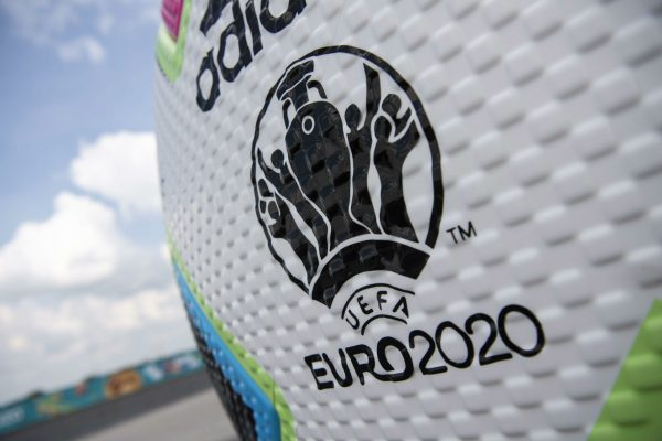epa09259631 A ball advertising for the upcoming Euro 2020 soccer tournament in front of the Soccer Stadium in Munich, Germany, 10 June 2021. The UEFA EURO 2020 soccer tournament will be held from 11 June to 11 July 2021. EPA/LUKAS BARTH-TUTTAS