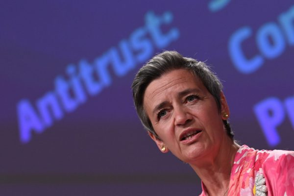 epa09257229 European Commission vice-president in charge Europe fit for the digital Margrethe Vestager speaks during a press conference on a competition sector inquiry at the EU headquarters in Brussels, Belgium, 09 June 2021. EPA/JOHN THYS / POOL
