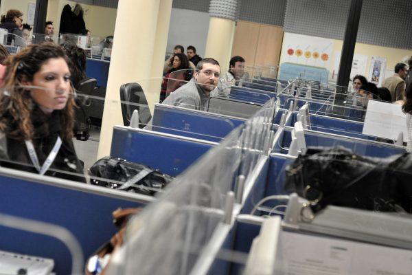 20090216 - ROMA - POL - VELTRONI VISITA CALL CENTER. Il call center 'Tele Performance', questa mattina a Roma. ANSA/ GUIDO MONTANI /Ji/DIB