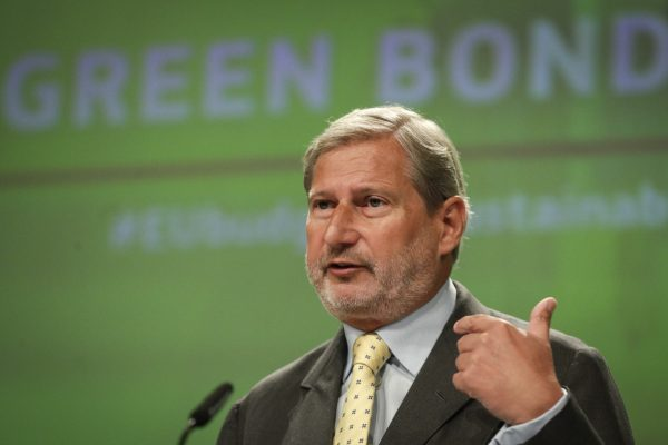 epa09452813 EU Commissioner for Budget Johannes Hahn gives a press conference on the 'NextGeneration EU' Green Bonds Framework, at the European Commission in Brussels, Belgium, 07 September 2021. The European Commission has adopted an independently evaluated Green Bond framework, taking a step forward towards the issuance of up to 250 billion Euro from October 2021, subject to market conditions. EPA/OLIVIER HOSLET