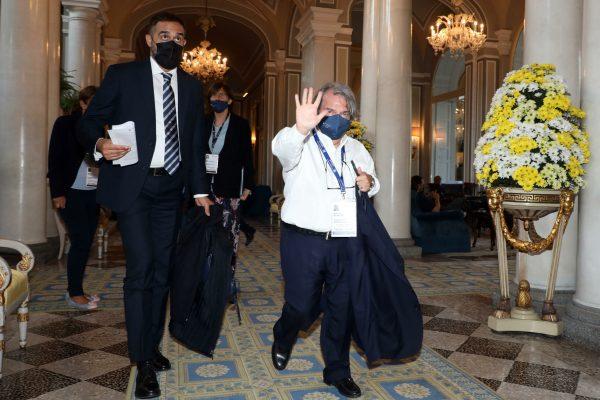 "Italian Minister for Public Administration Renato Brunetta arrives to Ambrosetti Forum ""Intelligence on the world, Europe, and Italy"" in Villa d'Este Cernobbio on Como lake, 3 September 2021. ANSA / MATTEO BAZZI"