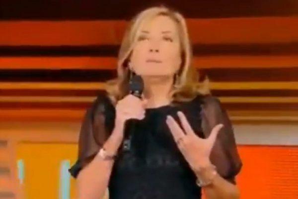 Un frame tratto dal video postato da Selvaggia Lucarelli mostra Barbara Palombelli, durante la puntata de Lo Sportello di Forum di ieri, nel corso della quale ha commentato i femminicidi, dopo che negli ultimi giorni, sette donne sono state uccise, scatenando una bufera social contro di lei, Roma, 17 Settembre 2021. TWITTER
